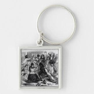Attack on a Potato Store in Ireland, c.1845 Silver-Colored Square Key Ring