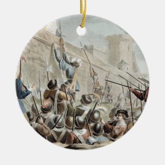 Attack on Boulogne-Sur-Mer, engraved by Jean Bapti Christmas Ornament