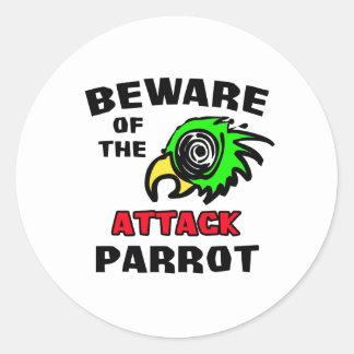 Attack Parrot Round Sticker