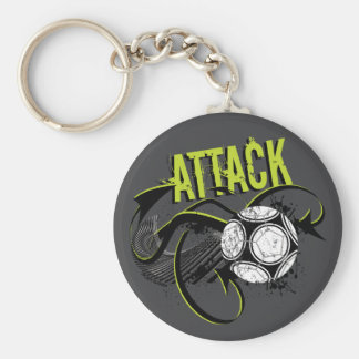 Attack - Sporty Slang Soccer Keychain