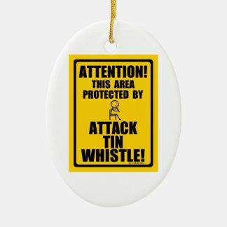 Attack Tin Whistle Ceramic Oval Decoration