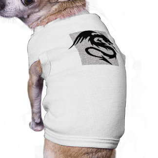 Attacking Dragon Silhouette on Silver Pet Tshirt