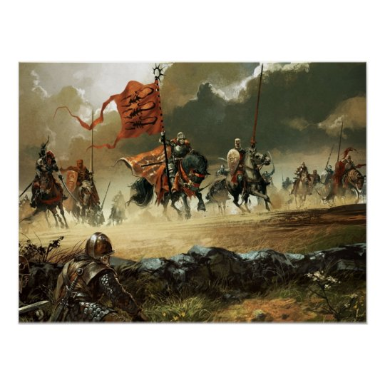 Attacking knights under a banner poster
