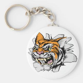 Attacking tiger head keychain