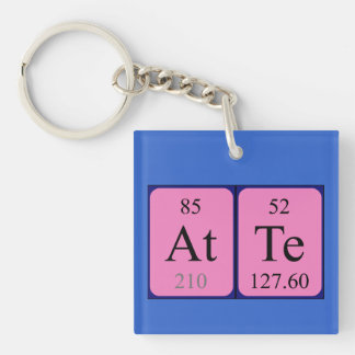 Atte periodic table name keyring Single-Sided square acrylic key ring