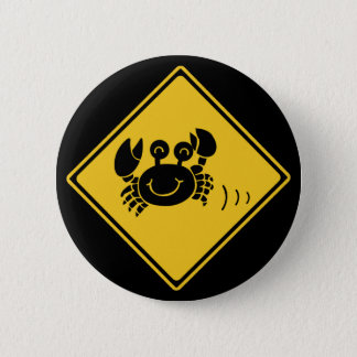Attention Crabs (1), Traffic Sign, Japan 6 Cm Round Badge