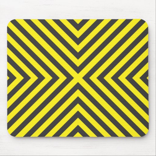 attention cross sign yellow and black alternating mouse pad
