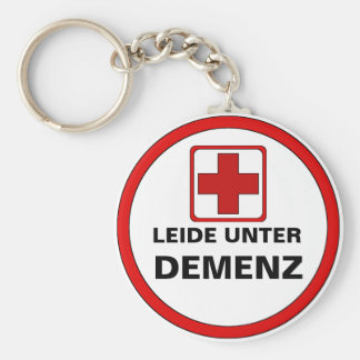 Attention - dementia basic round button key ring