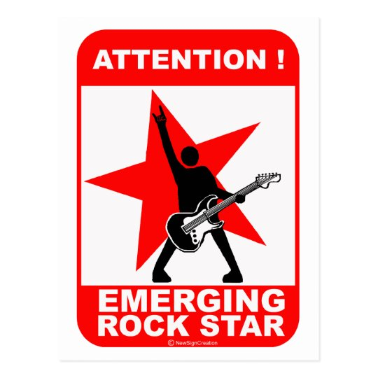 Attention! emerging rock star! postcard