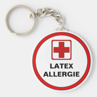 Attention - Latex allergy Basic Round Button Key Ring
