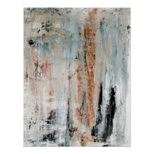 'Attention' Neutral Abstract Art Poster Print