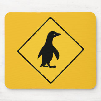 Attention Penguins, Traffic Sign, New Zealand Mouse Pad