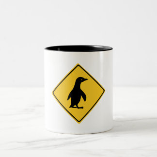 Attention Penguins, Traffic Sign, New Zealand Two-Tone Coffee Mug