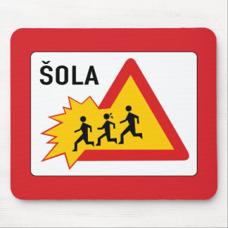 Attention School, Traffic Sign, Slovenia Mouse Pad