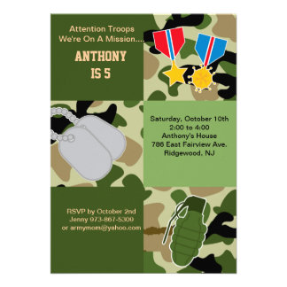 Attention Troops Army Birthday Invitation