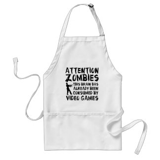 Attention Zombies Video Games Standard Apron