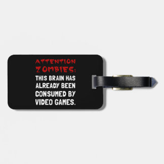 Attention Zombies Video Games Luggage Tag