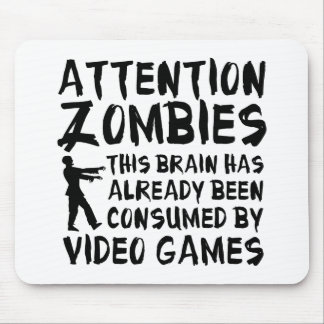 Attention Zombies Video Games Mousepads