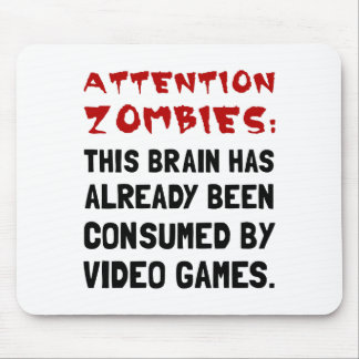 Attention Zombies Video Games Mouse Pad