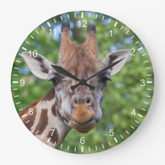 Attentive Giraffe Large Clock