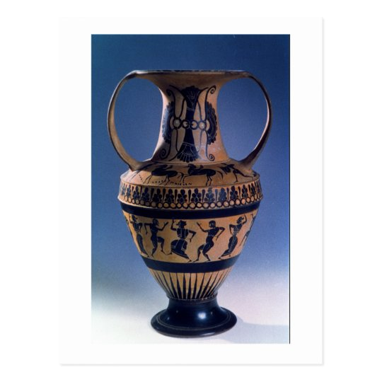 Attic black figure amphora depicting dancers, c.53 postcard