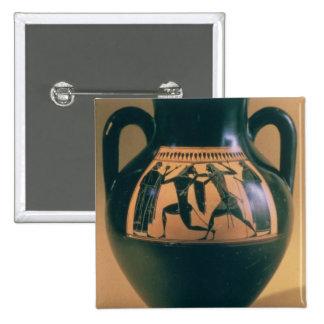 Attic black figure amphora depicting Theseus and t 15 Cm Square Badge