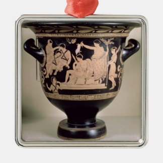 Attic red-figure krater depicting Orestes as suppl Silver-Colored Square Decoration
