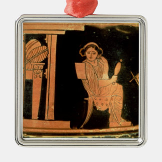 Attic red figure pyxis depicting a bride, 5th cent christmas ornament