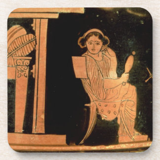 Attic red figure pyxis depicting a bride, 5th cent coaster