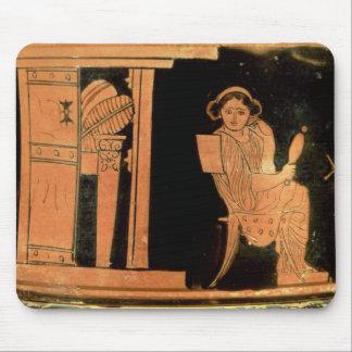 Attic red figure pyxis depicting a bride, 5th cent mouse mat