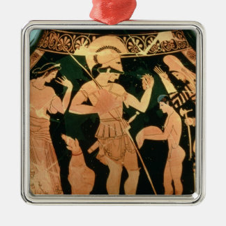Attic Red figure vase depicting a soldier taking p Christmas Ornament