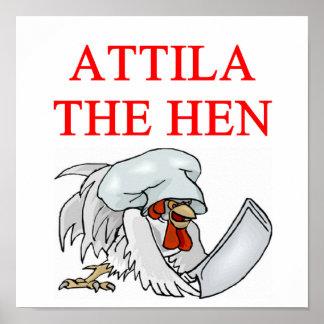 ATTILA the hen Poster