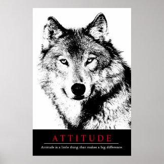 Attitude Black White Inspirational Wolf Poster