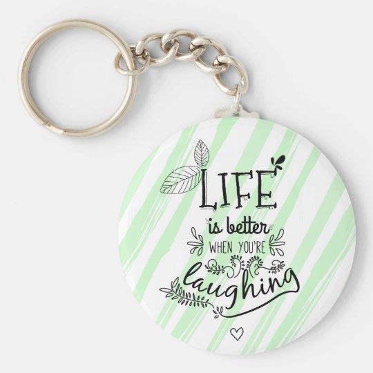 Attitude Happiness Life Success Quote Green Stripe Key