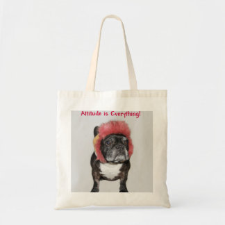 attitude is everything cute dog budget tote bag