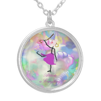 Attitude is Everything - Dancing with Canes Round Pendant Necklace