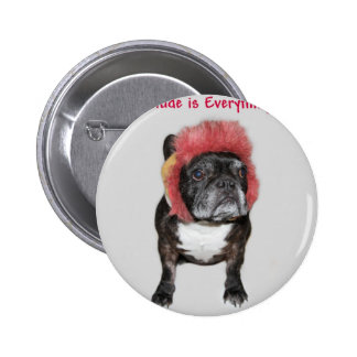 attitude is everything funny bulldog with hat button