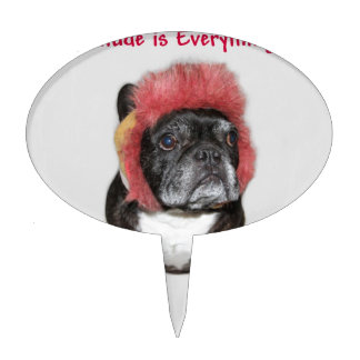 attitude is everything funny bulldog with hat cake picks