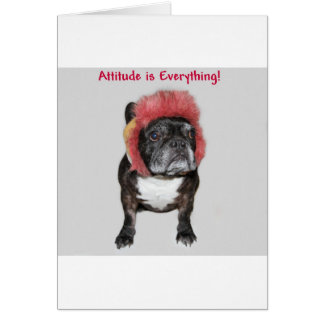 attitude is everything funny bulldog with hat greeting card