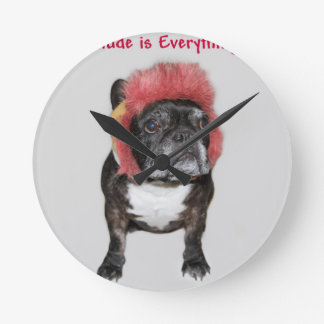 attitude is everything funny bulldog with hat round wallclock