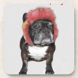attitude is everything funny bulldog with hat beverage coaster