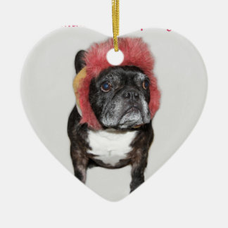 attitude is everything funny bulldog with hat christmas ornament