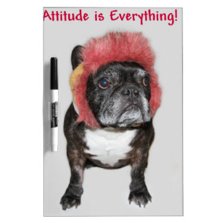attitude is everything funny bulldog with hat Dry-Erase whiteboard
