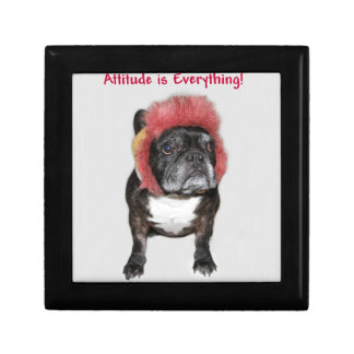 attitude is everything funny bulldog with hat jewelry box