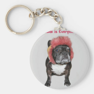 attitude is everything funny bulldog with hat key chain