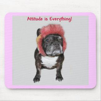 attitude is everything funny bulldog with hat mouse pad