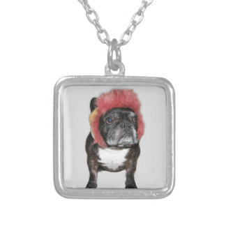 attitude is everything funny bulldog with hat personalized necklace