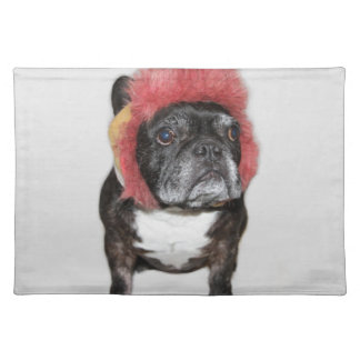 attitude is everything funny bulldog with hat place mat