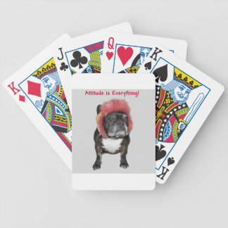 attitude is everything funny bulldog with hat bicycle card decks