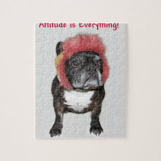 attitude is everything funny bulldog with hat jigsaw puzzles